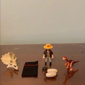 Playmobil Person with Dinosaur and Dinosaur skull